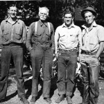 L to R: Ken Hodson, Steven Leek, Holly Leek and Neil Rafferty at Leek's Lodge. Jackson Hole Historical Society and Museum.