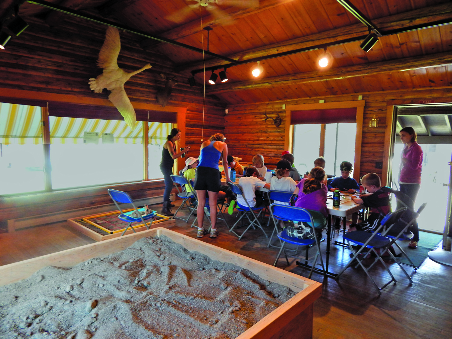 Class enjoying crafts next to mock archaeological dig site at the Mercill Archaeology Center