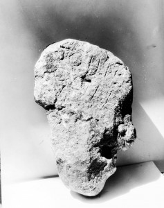 The stone reportedly carved by John Colter in 1808. Discovered in 1933, many claim this stone proves that Colter was the first Anglo-American to see what would become Yellowstone National Park.
