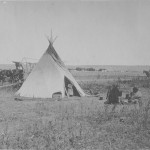 Washakie Tent Wagon behind- He died there