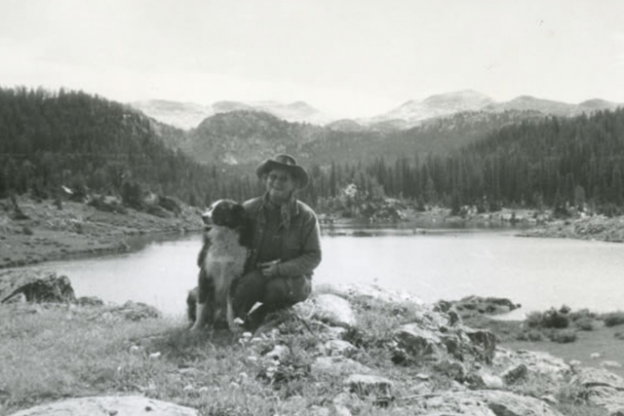 Betty Woolsey out for a walk with her dog. Courtesy of Trail Creek Ranch
