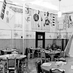 173. Interior of Noble Hotel with beadwork on walls and miniature tipi