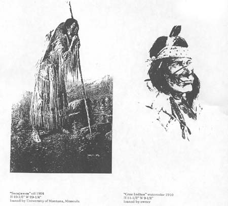 Fig 13: (left) Sacajawea, Edgar S. Paxson 1904