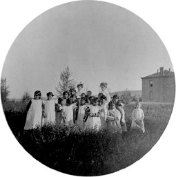 Uniformed girls at Shoshone Episcopal Girls School, ca. 1885-1895 (Beatrice Crofts Collection)