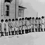 28. Shoshone girls in front of Robert's Mission (the Shoshone Episcopal Girl's School)