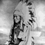 "63. ""James Tasian (Shoshone) J.E. Stimson Cheyenne, Wyo.""  In war bonnet"
