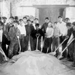 96. Boys with shovels and sand pile Government School – shop interior