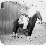 "98. ""Dick Washakie"" on a horse in white angora chaps"