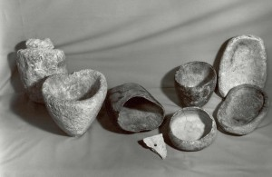 Soapstone bowls. Soapstone (steatite) is soft and easy to carve. The bowls were used for cooking and serving food. Collection of the Jackson Hole Historical Society and Museum.