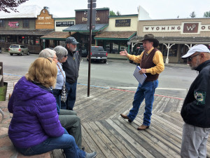 Steve Roberts leads a walking tour on the Town Square.
