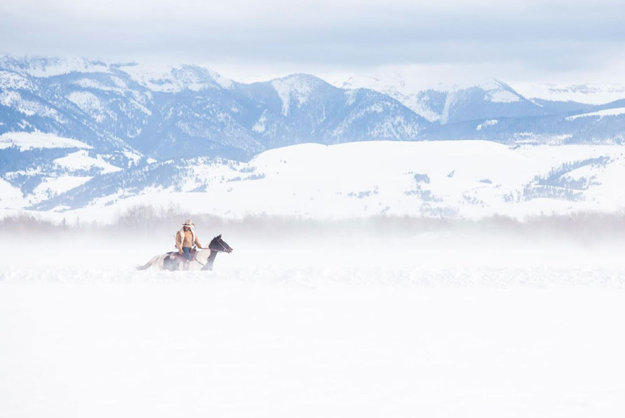 Wyoming Cowboy in Winter