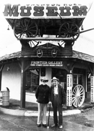 Jackson Hole Museum founders Homer Richards and Slim Lawrence, 1958.