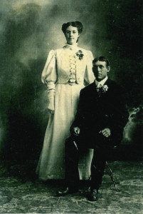 Melvina and Isaac Robertson on their wedding day, July 2, 1906.