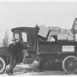 Truck with driver standing