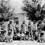 145. Duplicate of Washakie and Indians in front of J.K Moore house