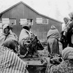 148. Women gathering entrails – ration day Fort Washakie