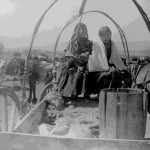 178. Interior shot of Indian wagon with 2 girls