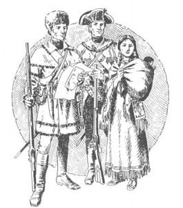 Fig 1: Sacagawea stands with Lewis and Clark