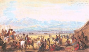 Alfred Jacob Miller painting in 1837 of the Green River Encampment