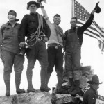 Geraldine Lucas with Paul Petzoldt, Ike Powell, Allen Budge and Jack Crawford on the summit of the Grand Teton. Collection of the Jackson Hole Historical Society and Museum
