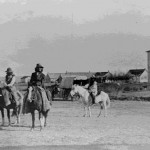 110. Indians on horseback in front of flour mill